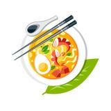 La soupe à Laksa avec des baguettes d'oeuf de poisson de crevettes de nouilles administrent le bambou à la cuillère illustration libre de droits