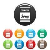 La soupe à tomate peut des icônes placer la couleur illustration libre de droits