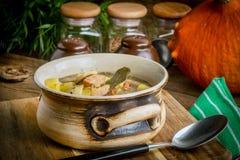 La soupe aigre faite de farine de seigle photos stock
