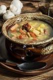 La soupe aigre faite de farine de seigle image stock