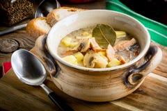 La soupe aigre faite de farine de seigle photo stock
