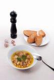 La soupe aux fèves dans le plat blanc avec la cuillère en métal, plusieurs grillent sur le petit morceau Images stock