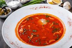 La soupe avec de la viande, des olives, des herbes et le citron dans le plat, a servi avec la crème sure, poivrons sur le fond en Photographie stock
