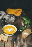 La soupe crème à potiron avec le basilic vert frais, épices, a grillé le pain Images libres de droits