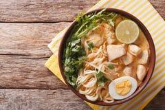 La soupe malaisienne à laksa avec le poulet, l'oeuf, les nouilles et les herbes se ferment photos stock