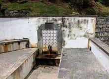La source d'eau minérale potable avec du sulfure arrosent dans Furnas Image libre de droits