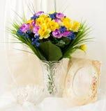 La source fleurit dans un vase et une trame en verre Photos stock
