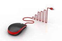 La souris d'ordinateur avec le câble a formé comme un graphique Photo stock