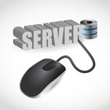 La souris d'ordinateur s'est reliée au serveur bleu de mot Photos libres de droits