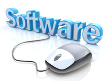 La souris grise moderne d'ordinateur s'est reliée au logiciel bleu de mot Photographie stock libre de droits