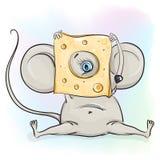 La souris regarde hors du fromage Photographie stock