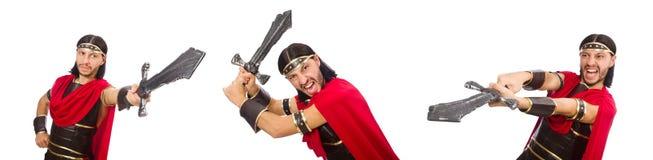 La spada della tenuta del gladiatore isolata su bianco Fotografia Stock Libera da Diritti