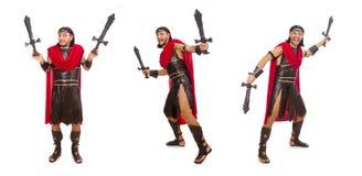 La spada della tenuta del gladiatore isolata su bianco Immagini Stock Libere da Diritti