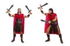 La spada della tenuta del gladiatore isolata su bianco Fotografie Stock Libere da Diritti