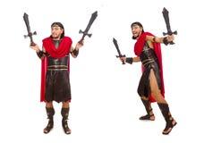 La spada della tenuta del gladiatore isolata su bianco Immagine Stock