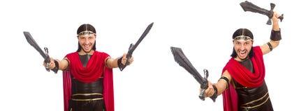La spada della tenuta del gladiatore isolata su bianco Fotografie Stock