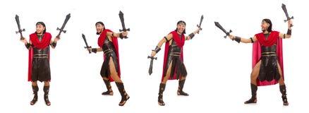 La spada della tenuta del gladiatore isolata su bianco Fotografia Stock