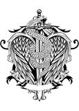 La spada traversa il serpente volando Immagini Stock Libere da Diritti