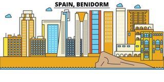 La Spagna, Benidorm Architettura dell'orizzonte della città editable Immagine Stock