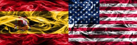 La Spagna contro il fumo degli Stati Uniti d'America inbandiera il lato disposto dal Sid Royalty Illustrazione gratis