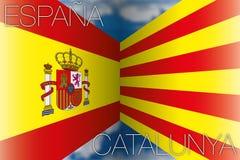 La Spagna contro le bandiere della Catalogna Fotografia Stock Libera da Diritti
