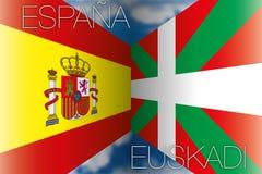 La Spagna contro le bandiere di paese basche Immagini Stock