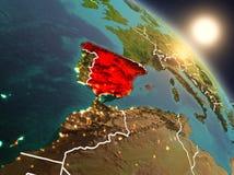 La Spagna da spazio durante l'alba Fotografia Stock