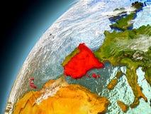 La Spagna dall'orbita di Earth di modello Immagine Stock