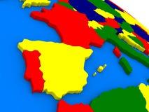La Spagna ed il Portogallo sul globo variopinto 3D Fotografie Stock Libere da Diritti
