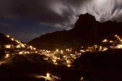 La Spagna: Luna piena sopra l'isola di Gomera della La Fotografie Stock