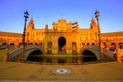 La Spagna quadra Plaza de Espana, Siviglia, Spagna fotografia stock libera da diritti