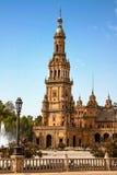 La Spagna, Siviglia Il quadrato a della Spagna è un esempio del punto di riferimento dello stile di rinascita di rinascita in Spa immagine stock libera da diritti