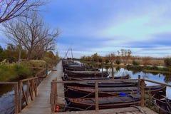 La Spagna, Valencia, Catarroja, porto di Catarroja, barche fotografia stock libera da diritti