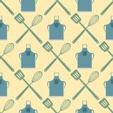 La spatola sbatte il modello senza cuciture che cucina la progettazione di tipografia dell'alimento del negozio del forno dell'il royalty illustrazione gratis