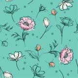 La spazzola botanica pastello dolce della mano dei fiori segna la linea lo schizzo s illustrazione di stock