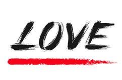 La spazzola di lerciume dell'iscrizione di amore segna la parola Fotografia Stock