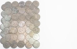 La specie dalle monete di baht della Tailandia ha un fondo bianco Fotografia Stock Libera da Diritti
