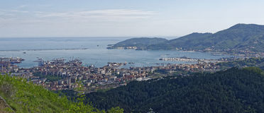 La spezia. Aerial view of la spezia a beautiful town in italy royalty free stock image