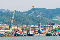 La Spezia. Cargo port. View of cargo port and container terminal in La Spezia. Italy. Liguria Stock Photos