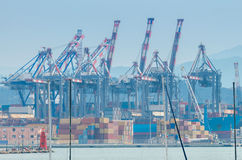 La Spezia. Cargo port. View of cargo port and container terminal in La Spezia. Italy. Liguria Stock Photo