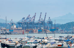 La Spezia. Cargo port. View of cargo port and container terminal in La Spezia. Italy. Liguria Royalty Free Stock Photos