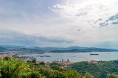 La Spezia city and gulf in Liguria, Italy Royalty Free Stock Images