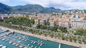 La Spezia city skyline, aerial view on a beautiful day.  stock photo