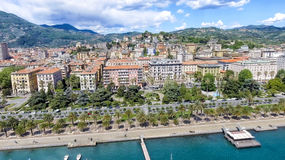 La Spezia city skyline, aerial view on a beautiful day.  royalty free stock photography