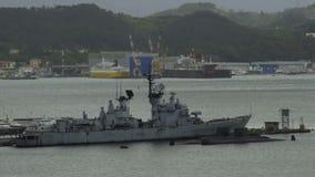 La Spezia harbor, view of Italian naval ship, water transportation, warship. Stock footage stock video footage