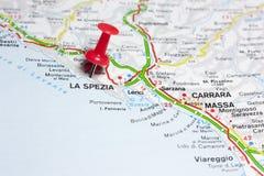 La Spezia Italia en un mapa Imágenes de archivo libres de regalías
