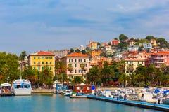 La Spezia in Italian Riviera, Liguria, Italy. View of the city and the harbor of La Spezia and Gulf of Poets, Italian Riviera, Liguria, Italy Stock Photography