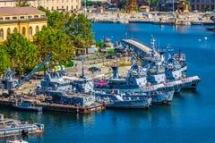 La Spezia, Italien, Augusti 10, 2013: Hamn Ligurian kust, Italien Arkivbild