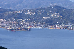 La spezia in italy. Aerial view of la spezia a beautiful town in italy stock photos