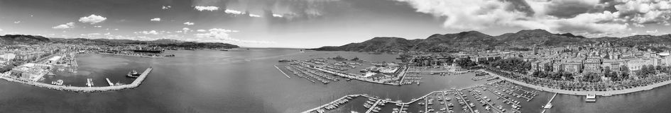 La Spezia, Italy. Panoramic view of port and city skyline on a s. Unny day stock photography